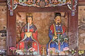 thZTJ1KJU6 Statues of the kitchen god in a temple, Chenghu
