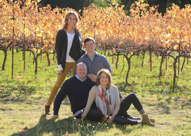 fall family photo at winery