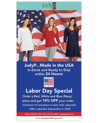 Email Marketing | JudyP Apparel Labor Day Special MJ OBrien Design