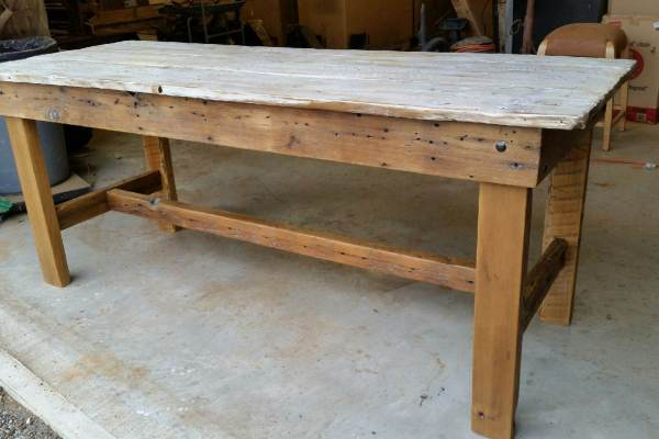White wash barn door dining table