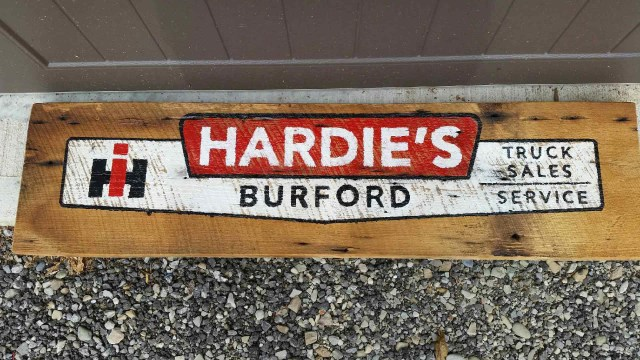 Custom barn board sign for Hardie's Burford