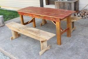 Red Barn Door Dining Table