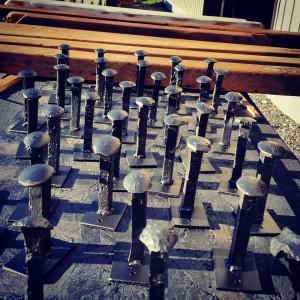 Railway spike coat hooks