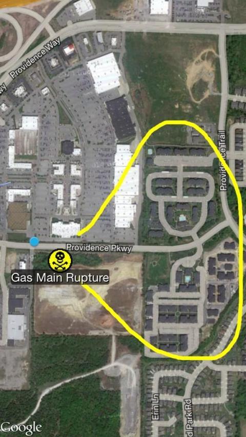Area of Gas Main Rupture Incident