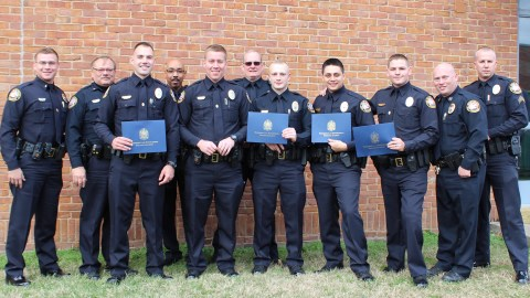 L-R) Lieutenant Chandler, Lieutenant Neely, Officer Engstrom, Chief Hambrick, Officer Thornhill, Sergeant Fulton, Officer Dean, Officer Watkins, Officer Anderson, Deputy Chief Mullins, and Corporal Christensen