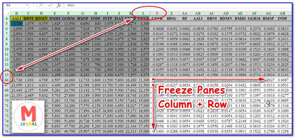 Freeze Panes Columns and Rows Sekaligus