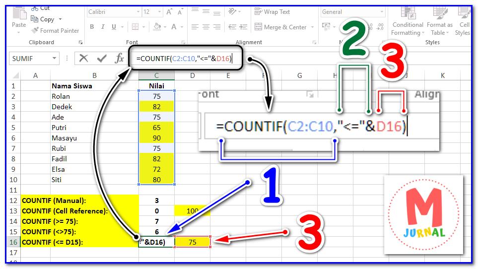 Cara menggunakan rumus countif untuk menghitung banyak data berdasarkan kriteria