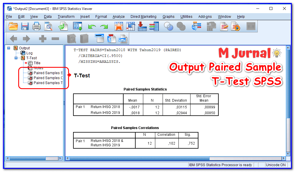 Output / Hasil Uji Paired Sample T Test SPSS