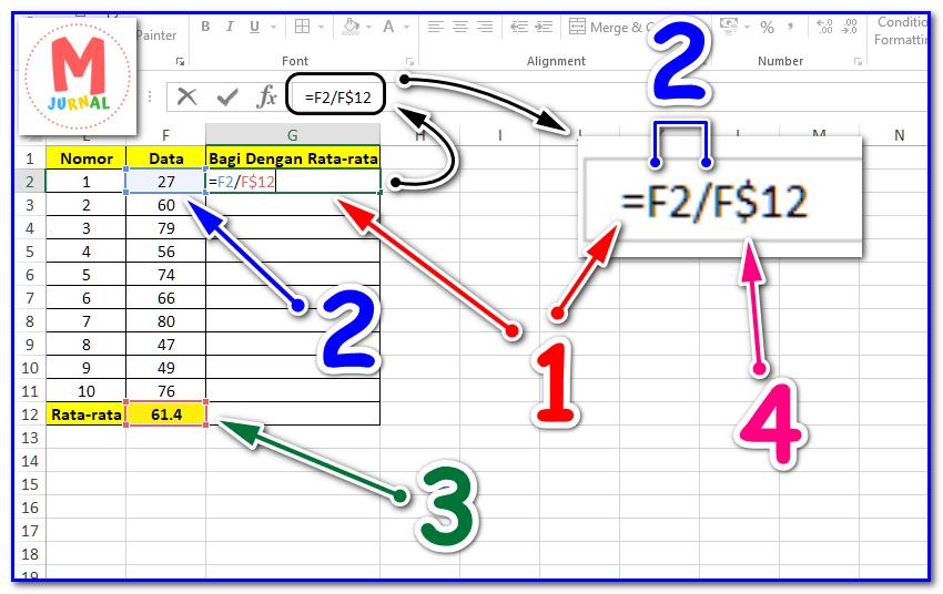 Rumus Pembagian Excel dengan Absolute Reference (Simbol Dollar)