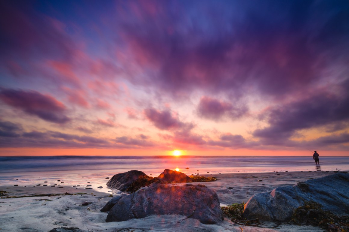 photo sunset beach ocean purple pink clouds and sky