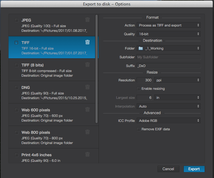 Screenshot of DXO Image Edit export to Disk UI