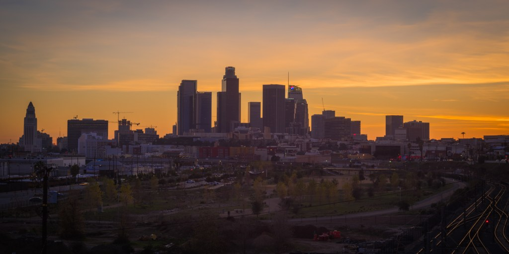 Los Angeles CA downtown skyline at sunset photograph