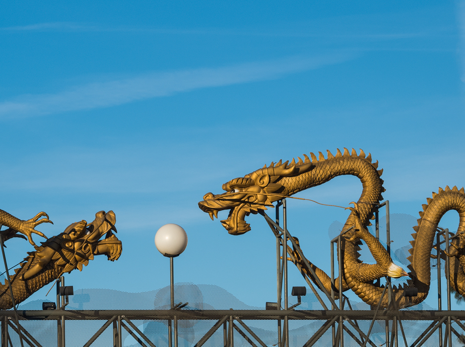Cropped dragons at entrance to Chinatown in Los Angeles detail