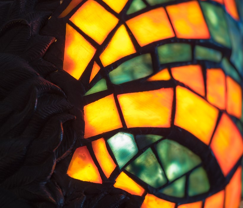 Colored glass orange and green macro photograph