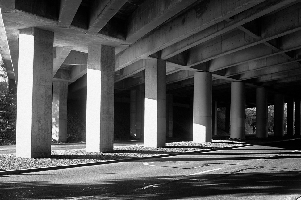 Black and White under overpass