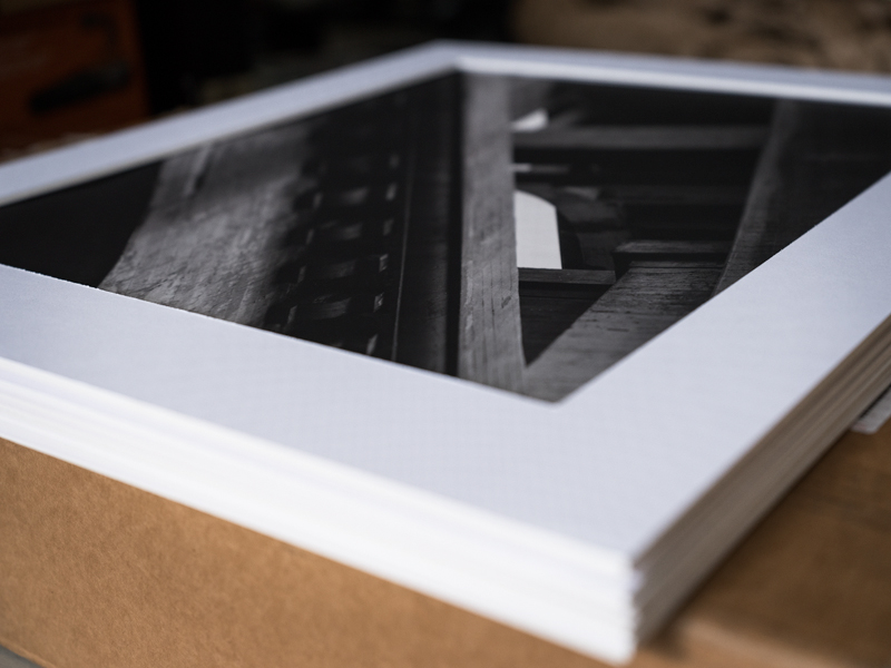 black and white matted photograph industrial urban fine art