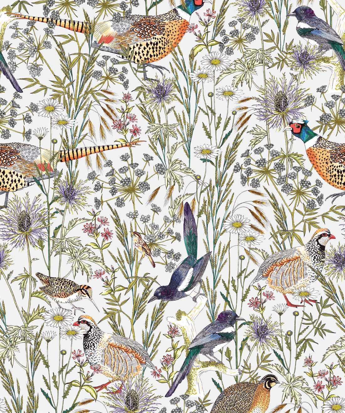 Woodland Birds Lively Botanical Wallpaper Milton King
