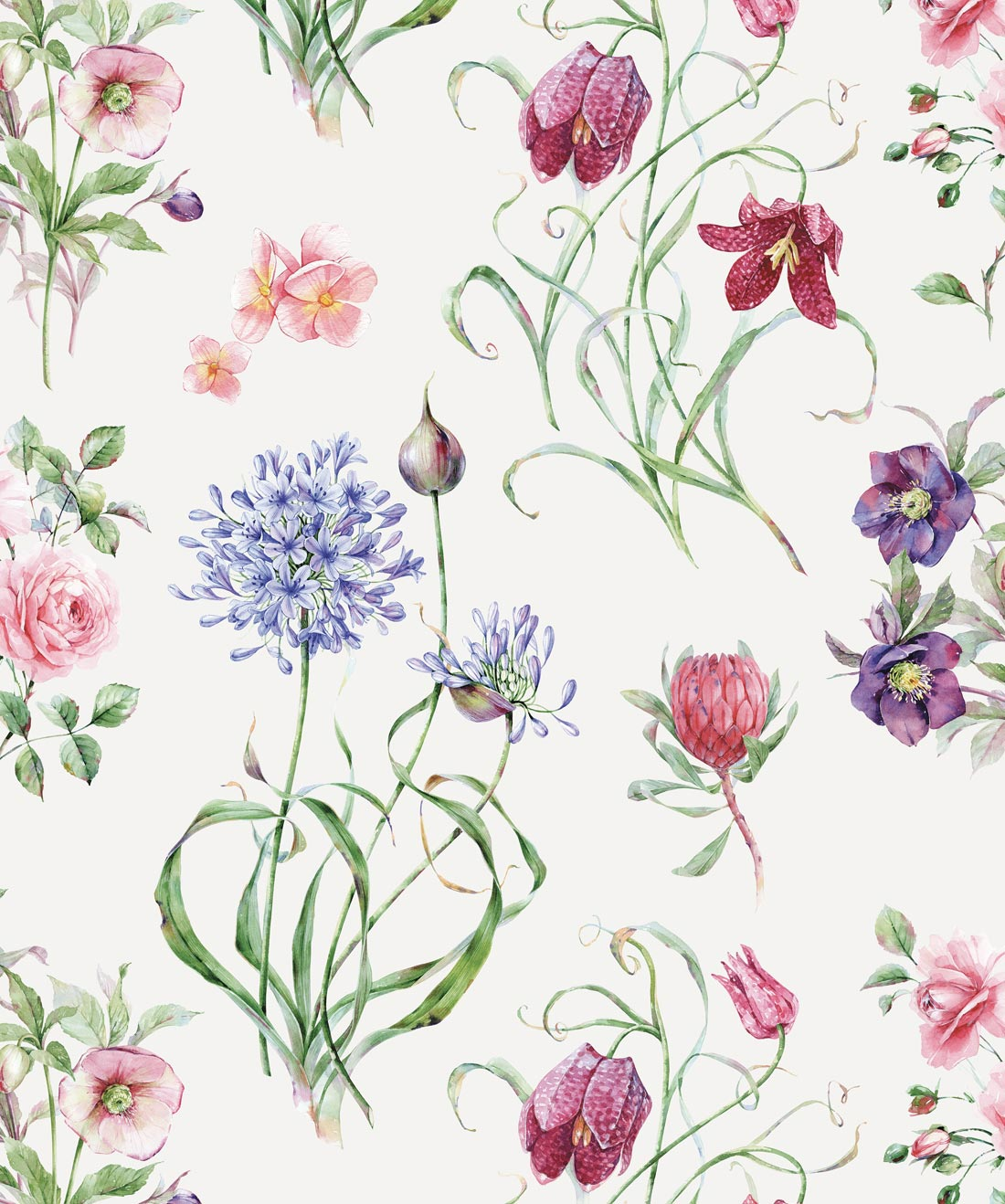 Botanical Watercolor Foral Motif Wallpaper Milton King