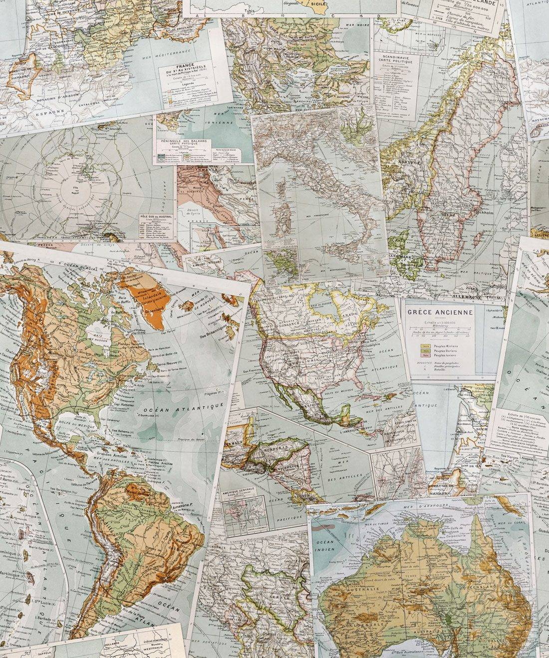 Vintage French Maps Wallpaper Contemporary Milton King
