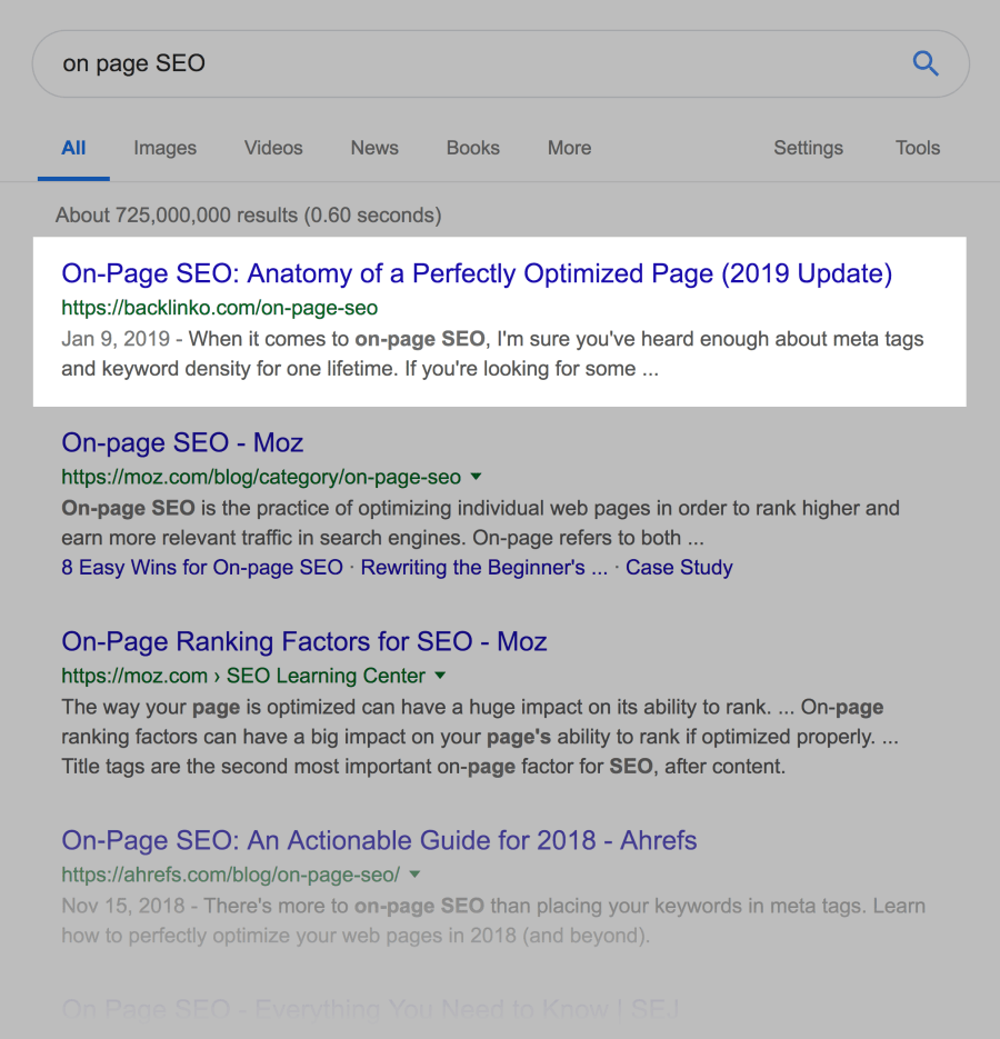 """""""on page SEO"""" SERPs"""