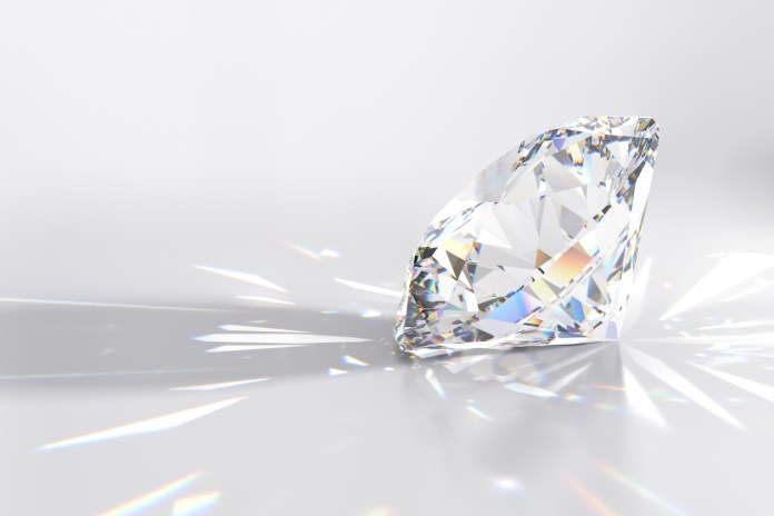 Side view of a round cut diamond with multi color caustics rays on light gray background