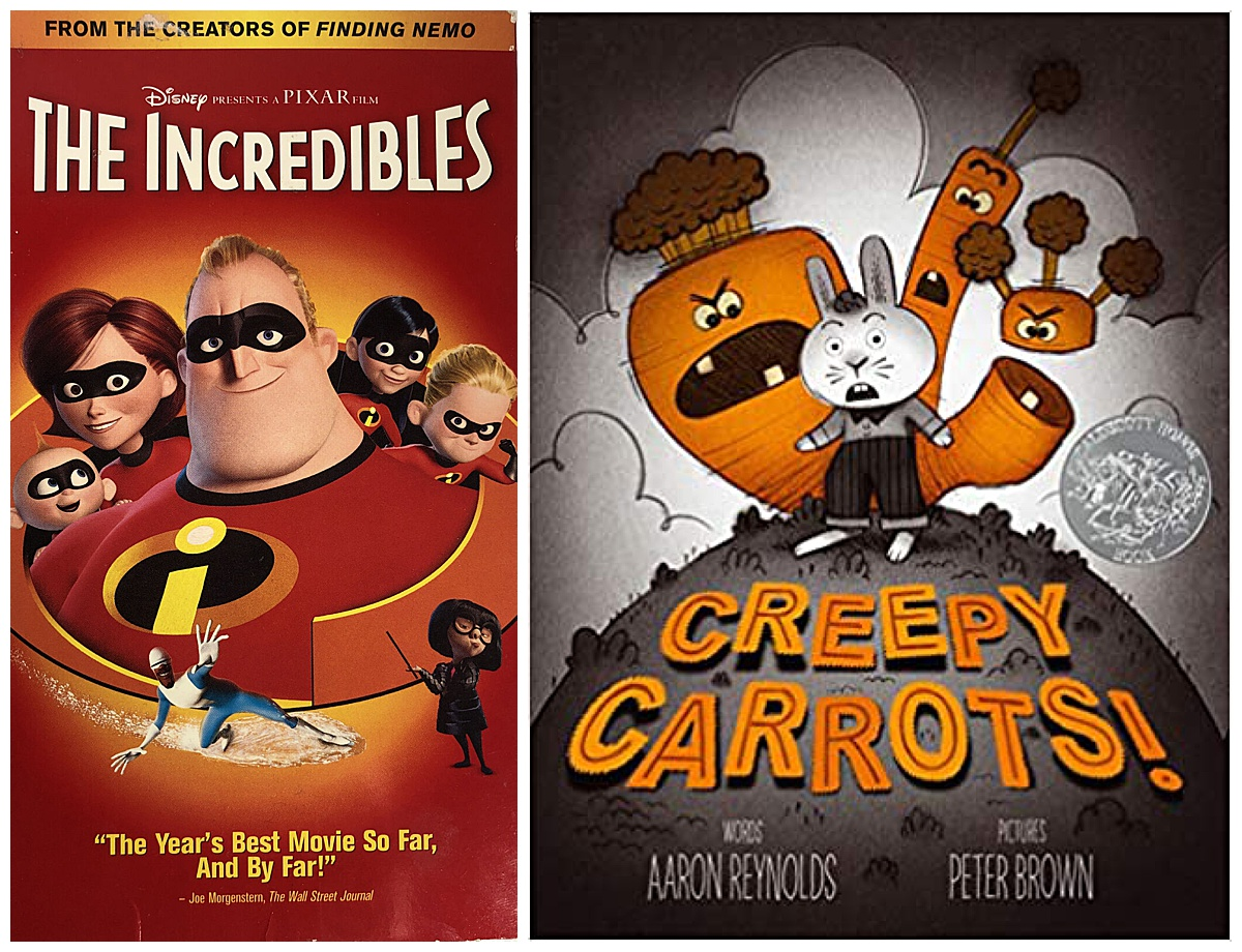 The Incredibles movie and Creepy Carrots book