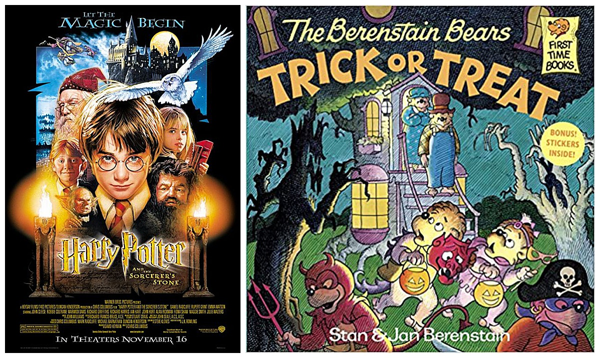 Harry Potter and the Sorcerer's Stone movie and The Berenstain Bears Trick or Treat book