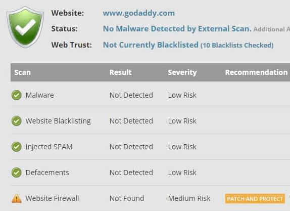 GoDaddy Website Security Test for malware and virus vulnerabilities.