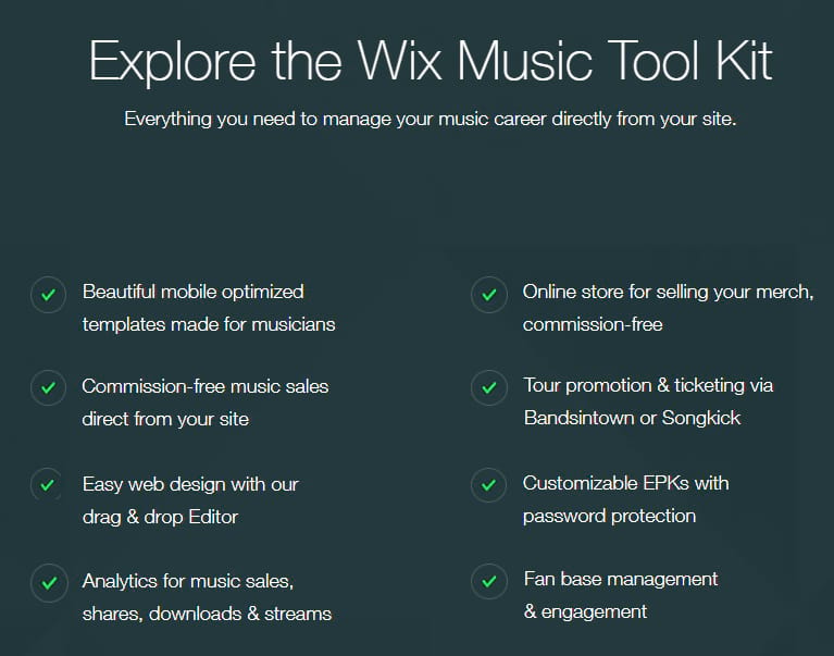 Wix music features