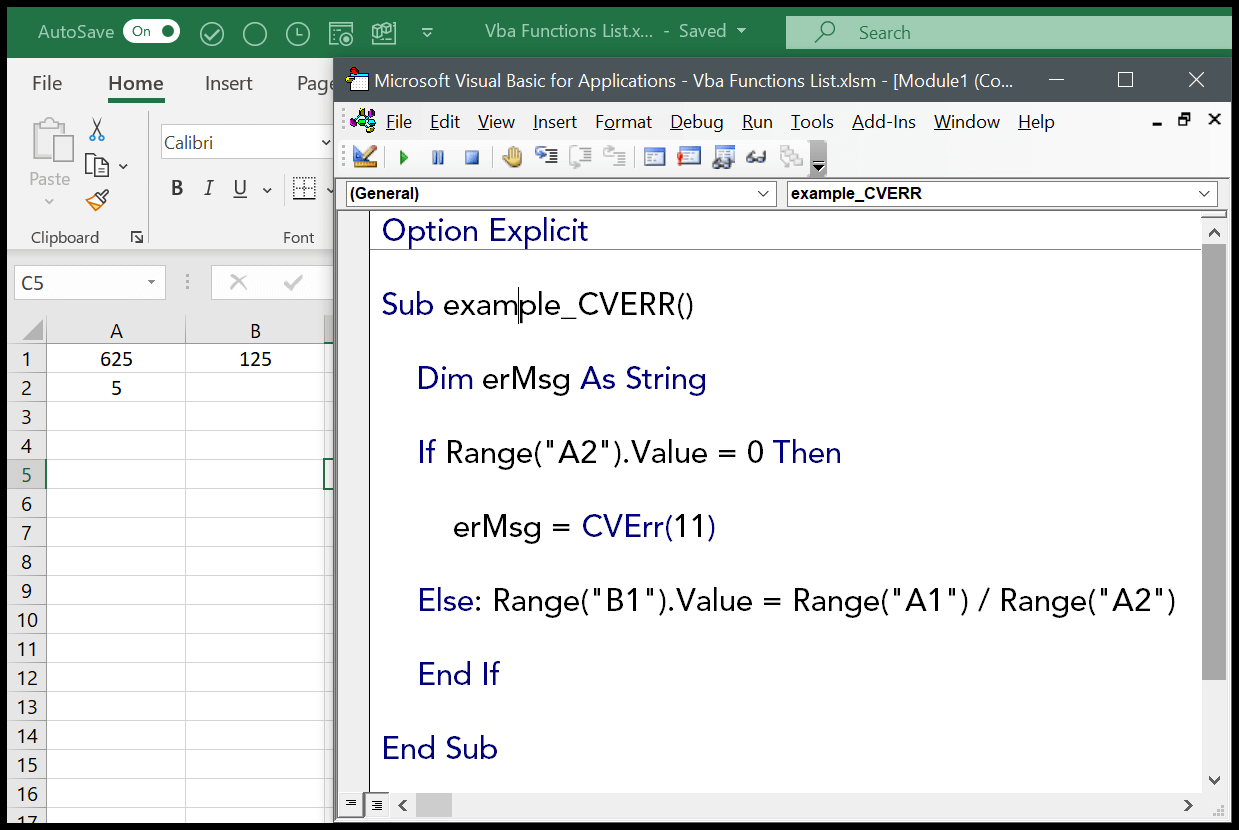 How To Use The Vba Cverr Function Syntax Example