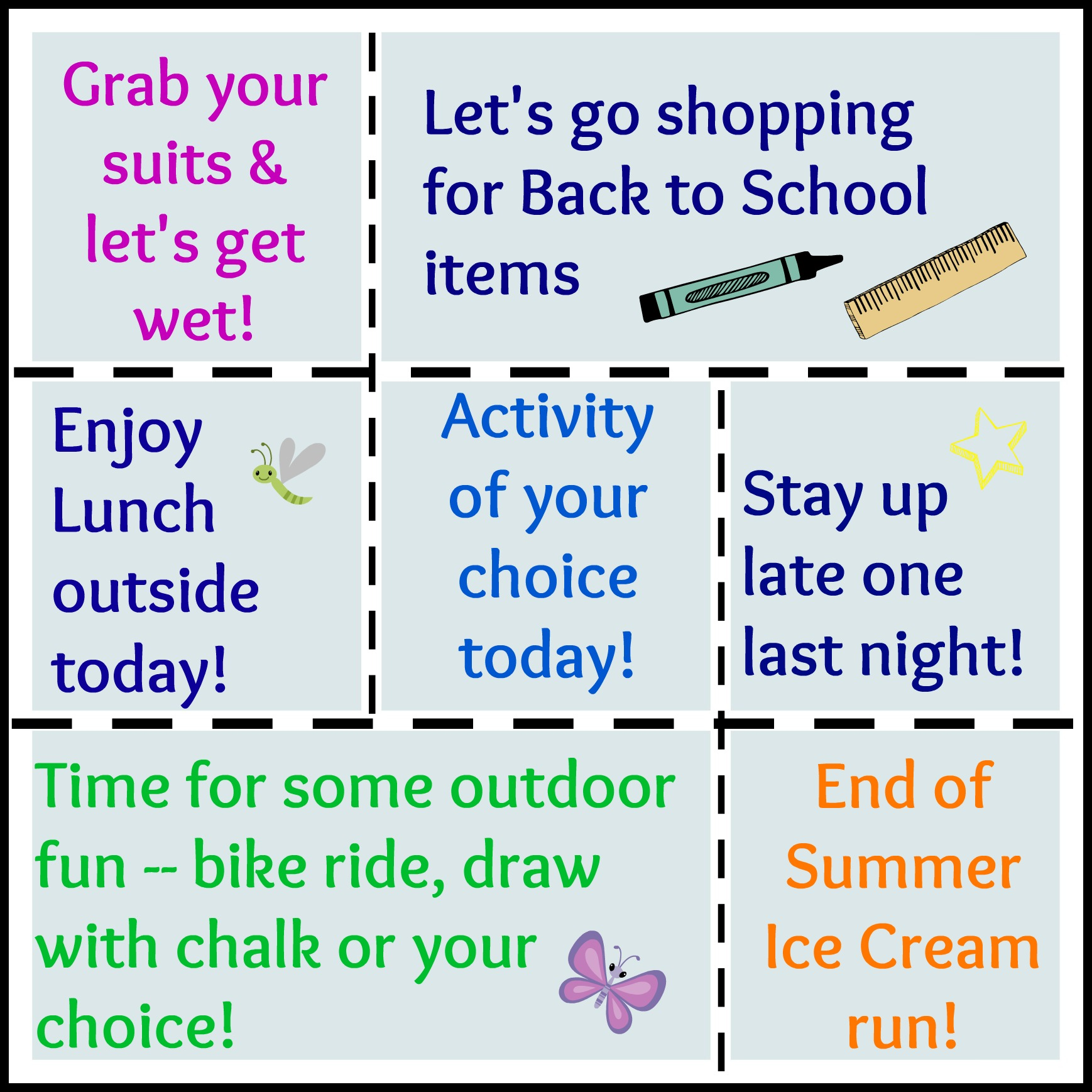 Free Printable Summer Activities Coupons For Kids