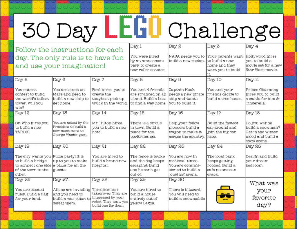 Free Printable 30 Day Lego Challenge Instant Download