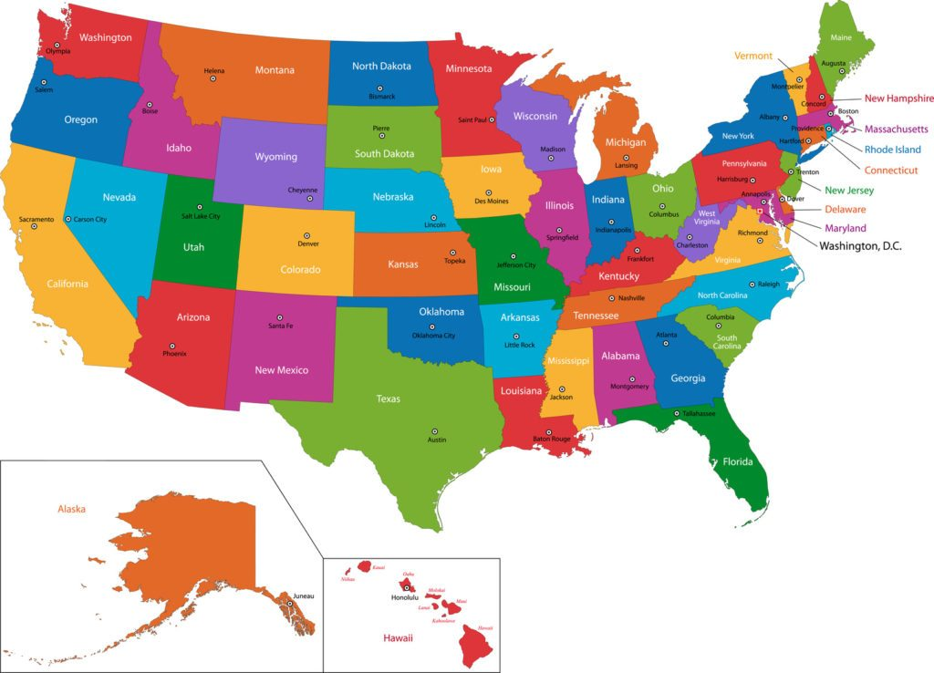 Colorful Usa Map With States And Capital Cities Foundation Group