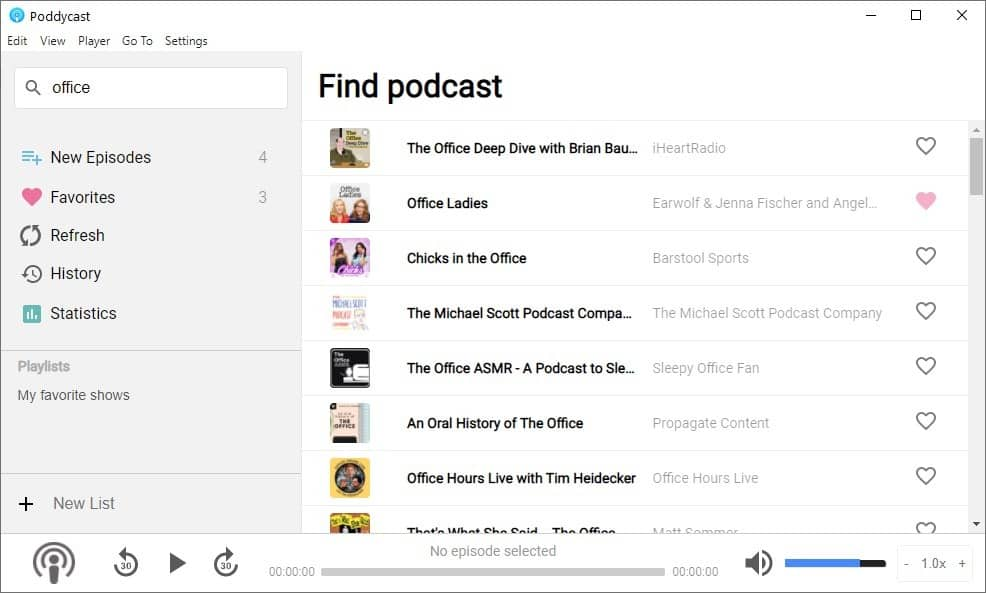 Poddycast search for podcast