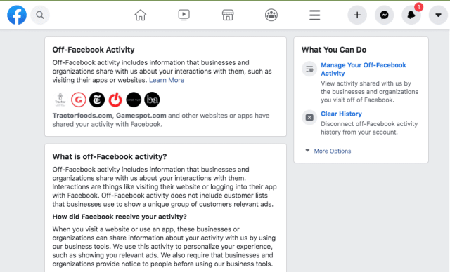 Facebook Clear History option available worldwide