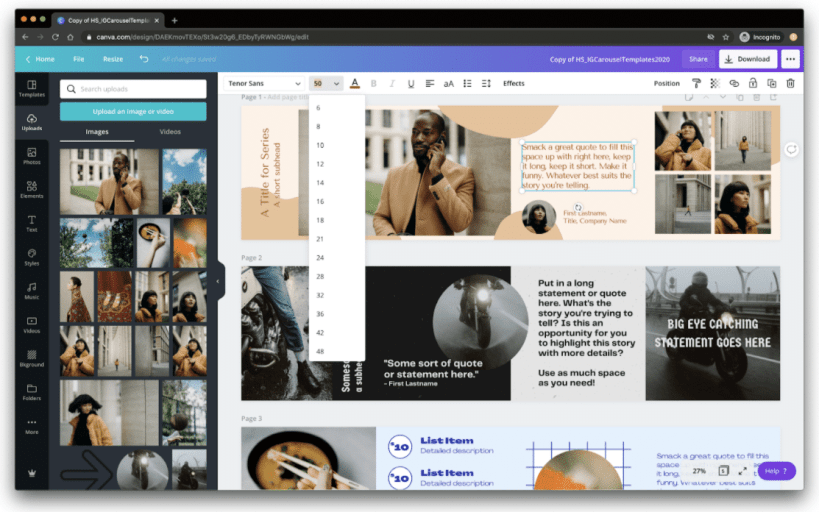 Change text box and formatting options in Canva