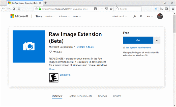 open raw images in Windows 10 pic1