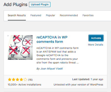 Add reCAPTCHA in WP comments form plugin
