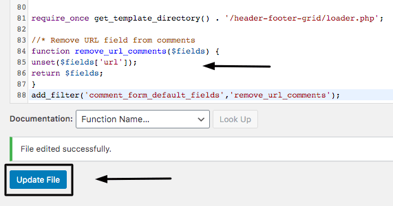 Adding code in functions.php file to disable URL in comments