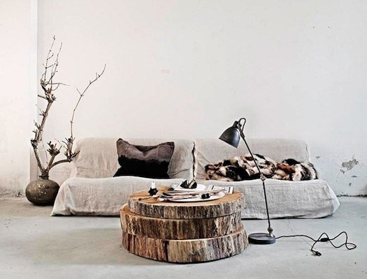 stacked tree trunk coffee table
