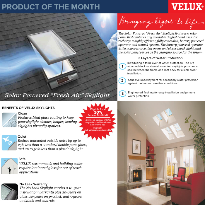 product of the month velux skylights