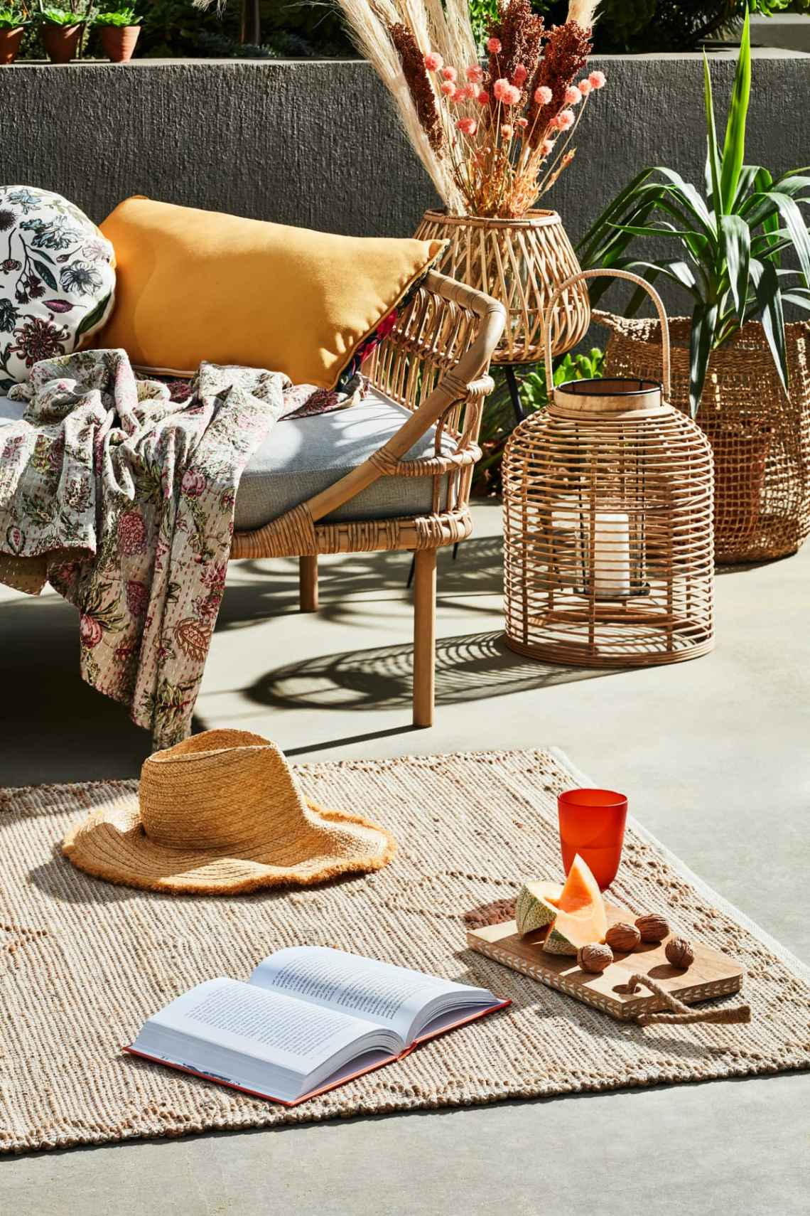 boho style wicker outdoor furniture and outdoor rug from early settler