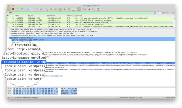 Session token within Wireshark