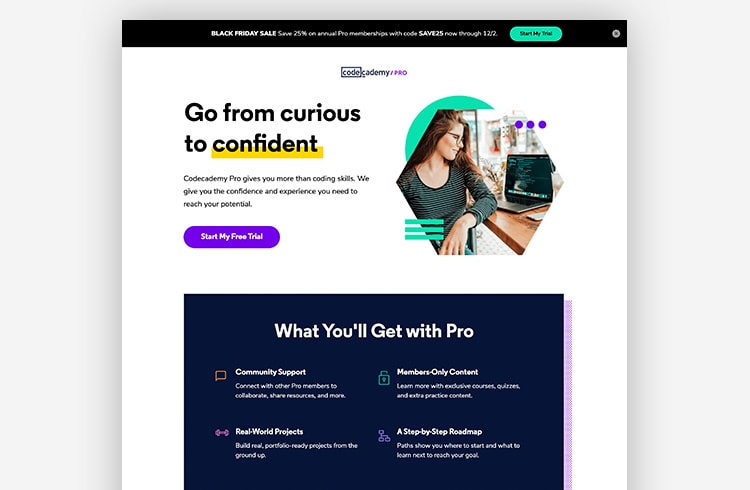 Smart Traffic Landing Page Variant - Codecademy