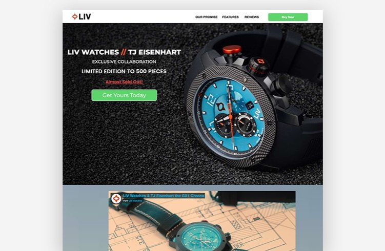Ecommerce Landing Page: LIV Watches