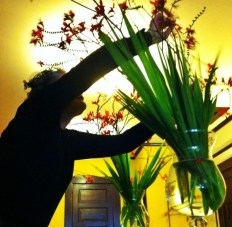 Jan arranging flowers. Mary took this gorgeous pic of Jan arranging flowers at the Panama Hotel tea room. Thank you Mary!