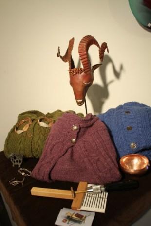 Lon Clark sculpture, bracelets, fiber measurement tool, jewelry, and bowl (+ Jen's lovely sweaters)
