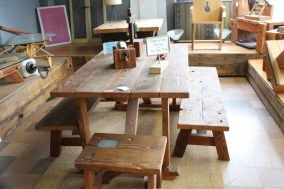 I picture a big family with lots of kids and a dog sitting around this picnic style table.