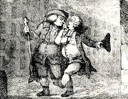 """Dr Samuel Johnson and James Boswell walking up the High Street, Edinburgh, from a print by Thomas Rowlandson, 1786. """"Mr Johnson and I walked Arm in Arm up the High Street to my House in James Court; it was a dusky night; I could not prevent his being assailed by the Evening effluvia of Edinburgh."""" As we marched along he grumbled in my ear """"I smell you in the dark."""""""