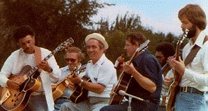 Left to right: Manty Ellis, Bob Deblaey, Don Momblow, George Pritchett, Jack Grassel. Skip Crumby-Bey is in the rear on bass.
